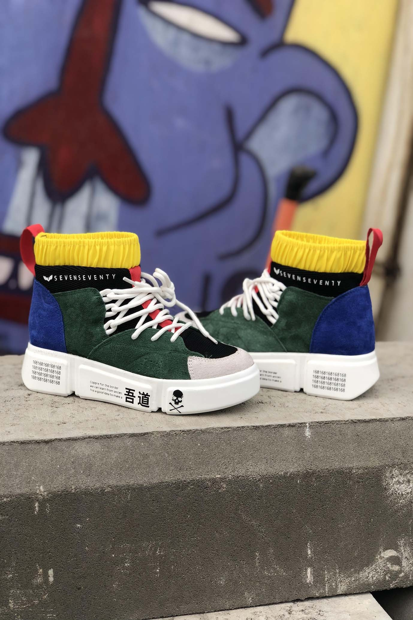 8cacb7b9b3cb High Top Multicolor Sneakers COLOR SKULL - Shoes On Sale - Shoes