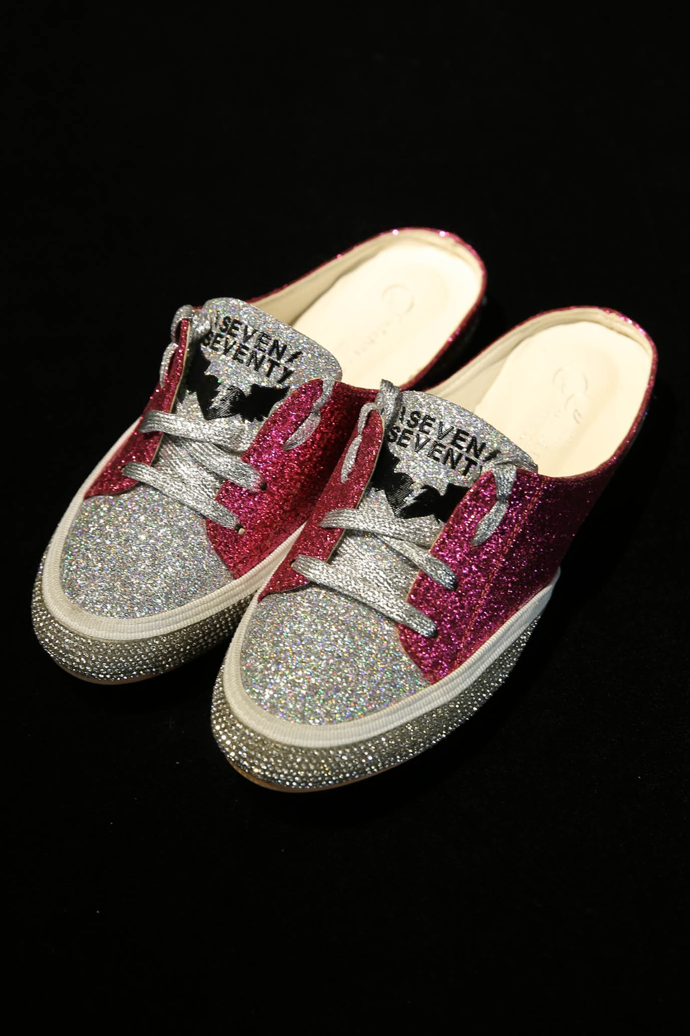 6e2568d8a79a Opened Pink and Silver Sneakers Flats SHINY - Shoes On Sale - Shoes