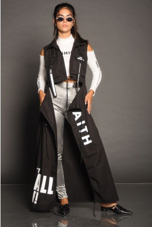 Decorated Black Long Vest FAITH