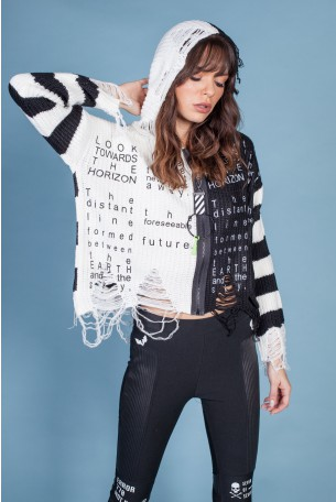 White and Black Hooded Sweater Net Shirt LOOK