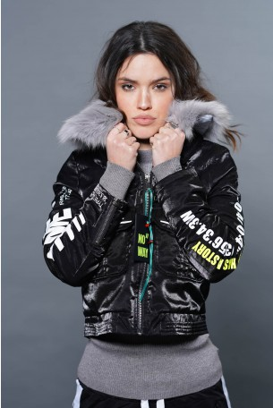 Black Jacket Fur Collar  NEW YORK