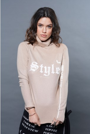 Beige Color Sparkle Turtleneck Long Sleeve Top STYLE