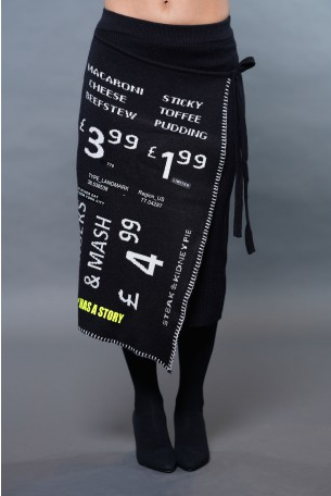 Black Designed Knit Midi Skirt LIMITED