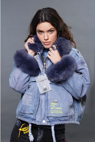 Denim And Blue Fur Jacket BKLYN