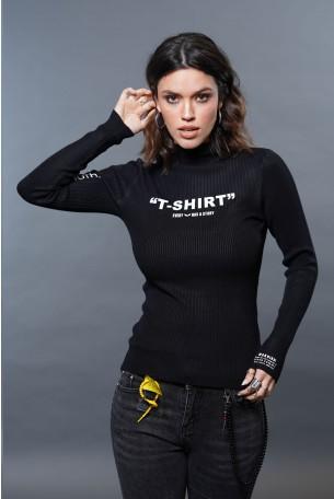Black Turtleneck Long Sleeve Top T SHIRT