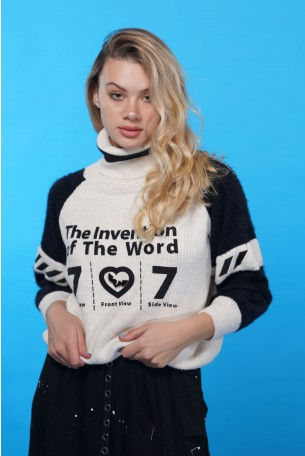 Black And White  Sweater Top  WORD
