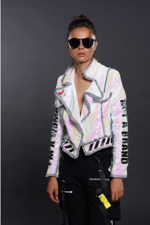 Pearl Color Sequins Blazer Jacket WOMAN