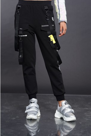 Black Straps Jogger Pants NYC