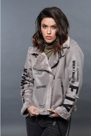 Grey Designed Faux Leather Jacket   FLY