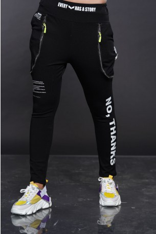 Black Zipper Jogger Pants THANKS