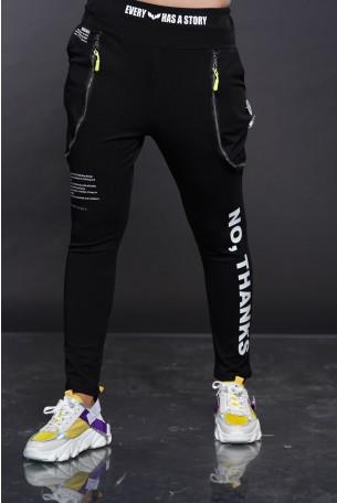 Black Zipper Jogger Pants THANKS