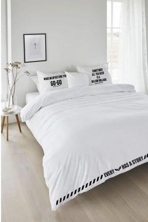 White Designed Double Bed Set WAKE UP
