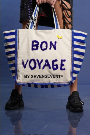 Big Hand Bag Blue Stripes BON VOYAGE