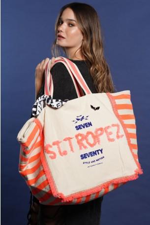 Big Hand Bag Orange Stripes ST. TROPEZ