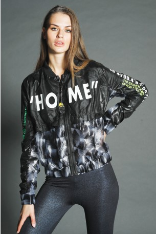 Black Grey Geometric Nylon Jacket HOME