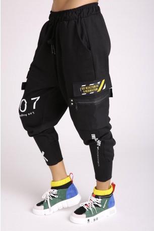 Black Designed Street Style Jogger Pants LA