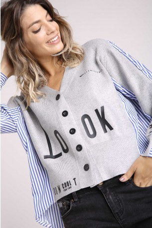 Decorated Printed Gray Long Sleeves Top LOOK