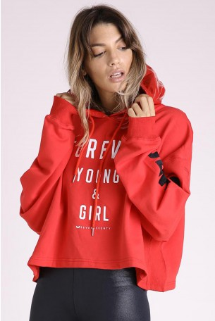 Decorated Printed  Hooded Red Top FOREVER