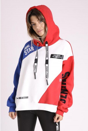 Decorated Printed  Hooded Top STAR