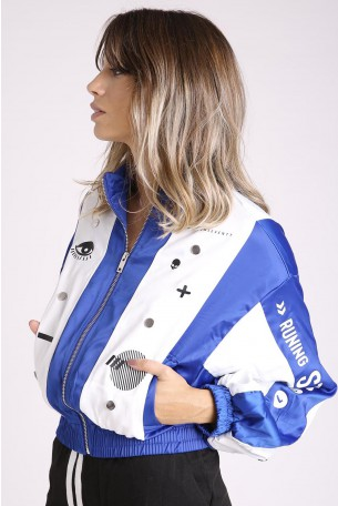 Blue and white Wide Short Zipper Jacket  RUNING