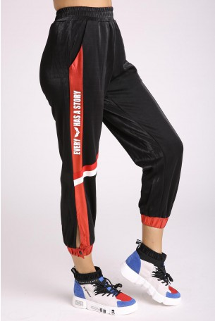 Black and Metalic Red Designed Pants HOUSE