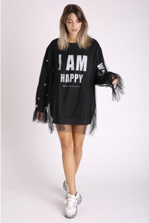 Decorated Printed Black Pullover and Tulle Top HAPPY