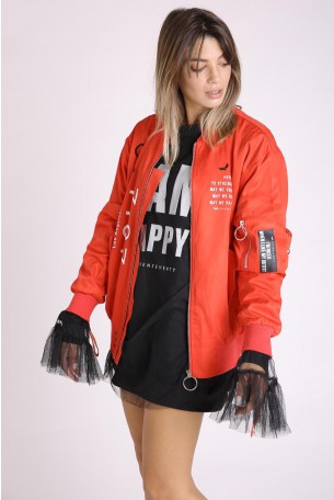 Red Wide Zipper Jacket  LA