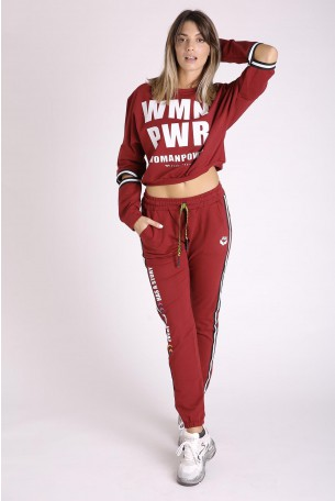 Burgundy Pullover Two Part Suit PWR