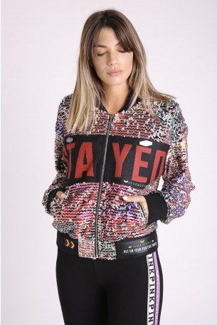 Wide Sequins Zipper Jacket POSITIVE