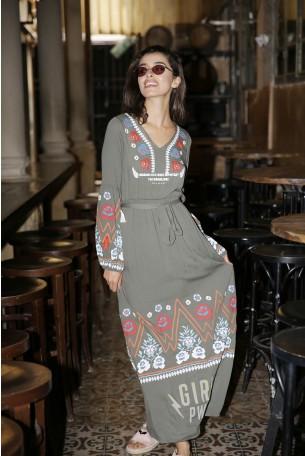 Olive Long Ethnic Dress FLOWERS