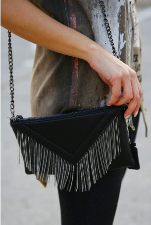 Cross Body Black Fringe Bag V