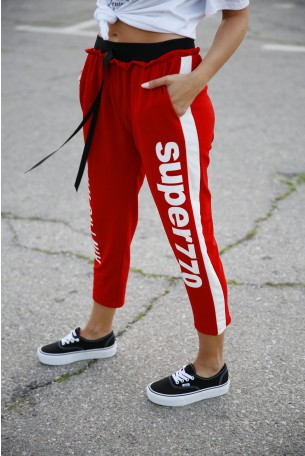 Designed Red Jogger Pants WIFEY