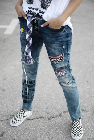 Blue Designed Denim Pants LA