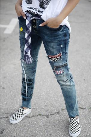 Blue Designed Denim Pants LA