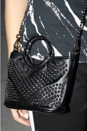 Cross Body Black Studs Bag GLAM