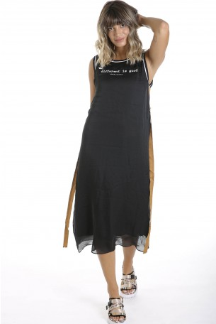 Black Sleeveless Satin Long  Dress  DIFFERENT