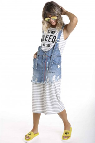 Denim and Cotton Sleeveless Dress NEED