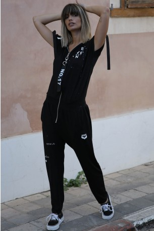 Black Hooded Overall SEVEN