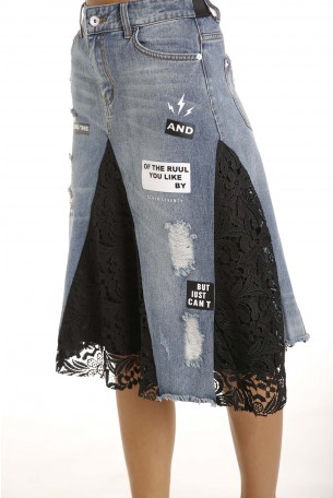 Denim and Lace Skirt LIKE