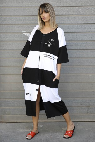 Wide Black and White Dress SEVEN