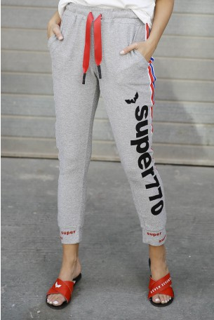 Designed Jogger Lurex Gray Pants SUPER 770