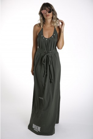 olive Green Elegant Long  Dress  ADVENTURE