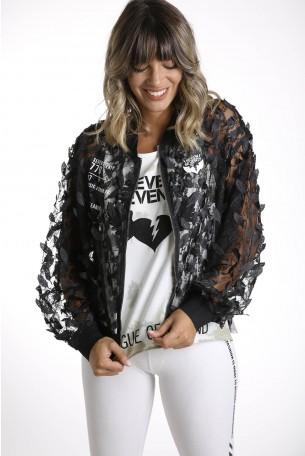 Decorated Black Jacket Tulle Fabric LEAF