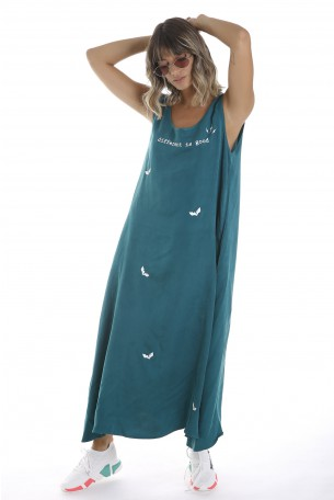 Green Sleeveless Cotton and Silk Long Dress  DIFFERENT