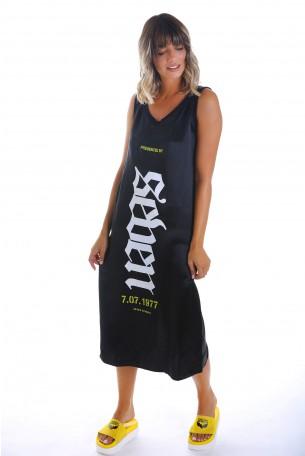 Black Sleeveless Satin Long Dress  SEVEN