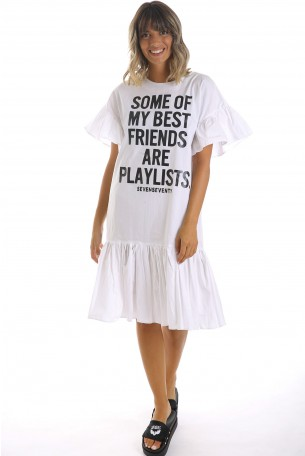 White Printed Dress BEST FRIENDS