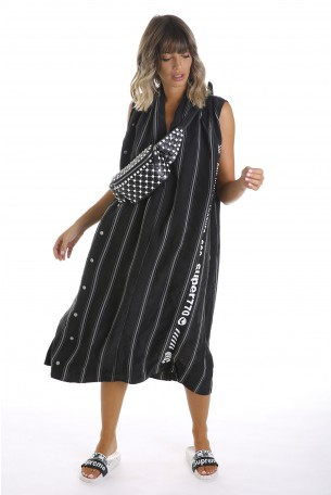 Black Sleeveless Cotton and Silk Long Dress  DIFFERENT