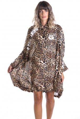 A Leopard Wide Sheer Printed Top  GOOD THING