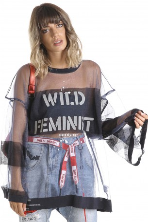 A Black Wide Sheer Printed Top  WILD