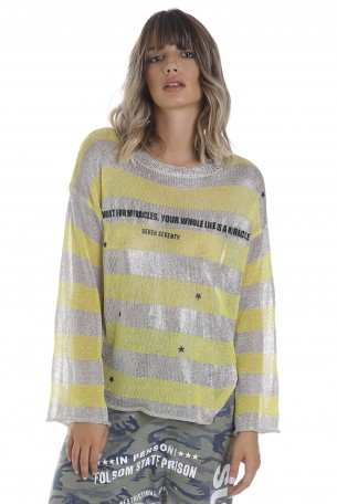 A  Netted Stripes Printed Top  MIRACLE